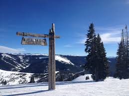 blue sky basin sign at vail ski resort