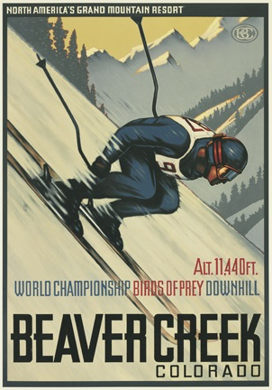 birds of prey ski course vintage poster