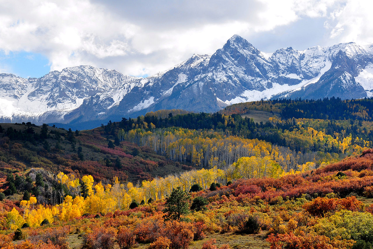 colorado snow capped mountains in fall
