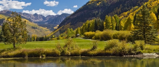 vail valley golf course view of gore range